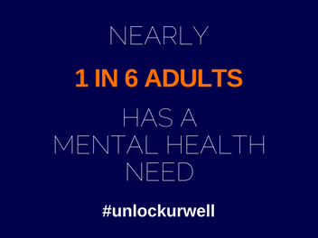 #unlockurwell blue text advertisement indicating 1 in 6 adults has a mental health need