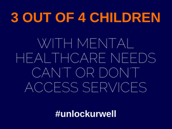 #unlockurwell blue text advertisement indicating most children do not have access to healthcare needs and services