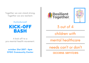 Resilient Together Kick-Off Bash Postcard Advertisement for an event on October 21, 2017