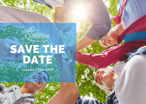 Child and Family Guidance Save the Date Advertisement for October 21, 2017 showing a group of people standing in a circle with their hands on top of each other