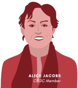 Vector graphic of a red woman representing CFGC member Alice Jacobs