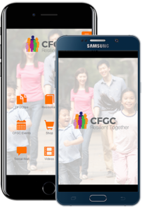 CFGC resilient together app displayed on two phones