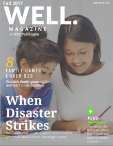Fall 2017 Well. Magazine cover featuring mother and daugther drawing